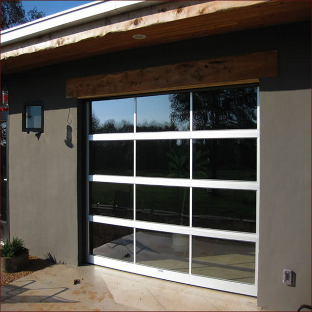Full View Tempered Glass Garage Door With Insulated